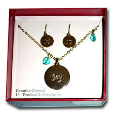"NIB ""Joy"" Round Drop Earrings & 18"" Necklace Set w/Blue Crystal Acents-A+ Gift!*"