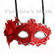 Red  Floral Mask w/Rhinestones and Glitter BZ627B for Party & Display