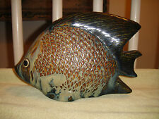 Amazing Japanese Piranha Fish Sculpture-Large Realistic Fish-Engraved Bottom-WOW
