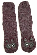 LADIES PLUM AND GREY LINED OWL SLIPPER BOOT SOCKS 3D EARS UK SIZE 4-8 US 6-10