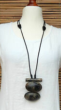 LAGENLOOK GERMAN AMAZING QUIRKY BOHO ARTIST LONG WOOD EFFECT NECKLACE PENDANT