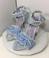 Irregular Choice Women's Sz 40 / 9 Blue/White Plaid Ruffled Lace Sandals Heels