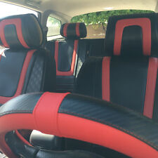 Circle Cool 34001 Seat Cover Set Black Carbon Fiber Style+Red Leather Custom Fit