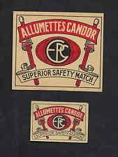 Ancienne étiquettes allumettes  Belgique  BN3624 Candor 2