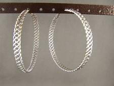 """Silver tone big 2.25"""" wide hoop hoops earrings basketweave woven pattern"""