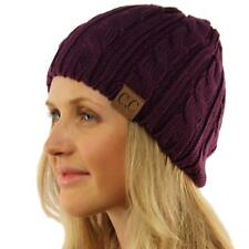 Unisex Winter Chunky Soft Stretch Cable Knit Skull Slouch Beanie Hat Cap Purple