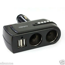 2 USB Charger Supply + Double Sockets Car Cigarette Lighter Extender Splitter