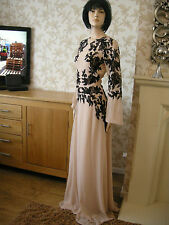 10 TALL ASOS NUDE / BLACK PLACED LACE DRESS KAFTAN BOHO VINTAGE WEDDING HOLS