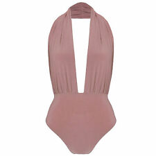 New Halterneck Plunge Neck Slinky Backless Bodysuit Leotard Bodycon Stretch Top