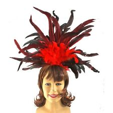 Vegas Showgirl  Red Feather Headpiece Saloon Girl Feathers
