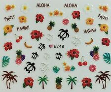 Nail Art 3D Decal Stickers Sea Turtle Palm Trees Aloha Hawaii Tropical E248