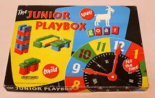VINTAGE CHILD'S WOODEN BUILDING BLOCK SPELLING TOY JUNIOR PLAYBOX SPEAR'S GAMES