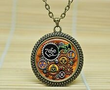 Fashion Necklace Led Zeppelin Steampunk Inspired Pendant Necklace Glass Cabocho