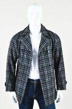 MENS TS(S) NWT $895 Gray Navy Wool Plaid Double Breasted Long Sleeve Pea Coat 2