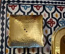 Moroccan hand hammered brass square soap dish with holes  porte savon