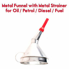 Metal Funnel with Metal Strainer Oil Petrol Diesel Water Fuel Car Van Garage RB