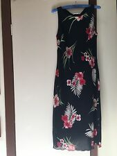 Filo Mid Length Black Dress with Red Flowers size L