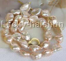 """luster 16.5"""" 14mm pink golden Reborn keshi pearls necklace j11148"""