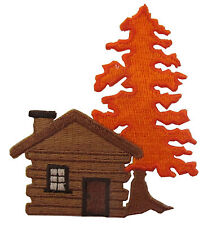 "#4286 3""x3-1/4"" Cabin,Log house w/Maple Tree Embroidery Iron On Applique Patch"