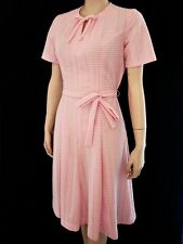 VTG 60s SS Princess Seams Pink Check Belted Flared Skirt Day Dress S/M