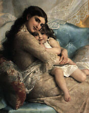 Munier Emile 1885 02 Portrait Of A Mother And Daughter A3 Box Canvas