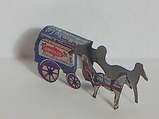 VINTAGE 1920 HORSE & WAGON METAL CRACKER JACK PRIZE TOY RED BLUE WHITE
