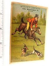 1880 Lovely Fox Hunting Dogs Horse Muddie's Library, Boston, MA Trade Card F47