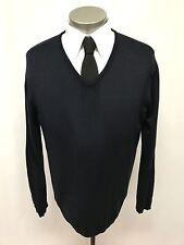mens navy blue EMPORIO ARMANI sweater v-neck ITALY soft cotton pullover SMALL 38