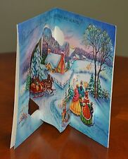 Vintage UNUSED Christmas Card PEOPLE GREETING SLEIGH DIE CUT POP-OUT 3D POP-UP