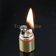EDC Cool Novelty Mini Gear Fire Flint Wick Kerosene Cigarette Lighter Keychain