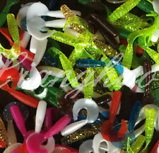 100PCS Soft Plastic Fishing Lures Single Curl Tail Grub Worms Hook Bait 1.5""
