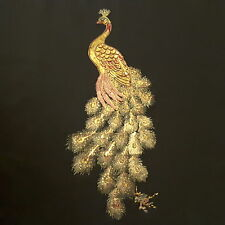 """Peacock Gold Sequin Feathers 28""""/71cm Embroidery Sew-On Dress Patch Applique"""