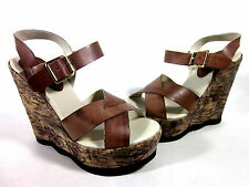 MOJO MOXY VESPA FASHION WEDGE SANDALS BROWN LEATHER WOMEN'S US SIZE 7 MEDIUM