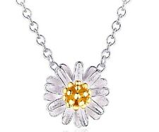 925 Sterling Silver Daisy 18K White Gold Plated Women Pendant Necklace Box A11