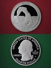 Silver 2014-S Arches Parks Proof Deep Cameo Quarter Flat Rate Shipping