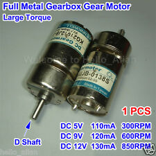 Full Metal Gearbox Gear Reducer Motor D Shaft DC5-12V Large Torque for Robot Car