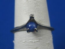 VINTAGE 10K WHITE GOLD SYNTHETIC STAR SAPPHIRE RING SIZE 7