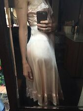 Lace Satin Pink Champagne Vintage 40s Dress 100% Cotton S M 8 10 Slip Wedding