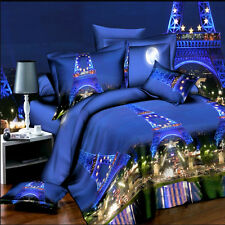 Blue Paris Scenery Queen Size Bed Quilt/Doona/Duvet Cover Set New Pillow Cases