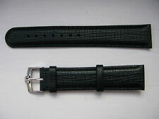 Brand New 20mm Extra Long Black Leather Strap & Vintage 18mm Omega Steel Buckle
