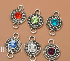 20pcs tibetan silver mix color charms rhinestone round beads Connectors 18x11mm