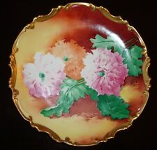 """LIMOGES CORONET HAND PAINTED SIGNED """"BROUSSILLON"""" PLATE CHARGER, FLOWERS, 11"""""""