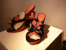 SEXY RED AND BLACK HEART HEELED MULES SZ40