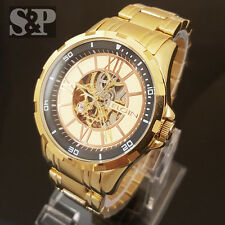 Mens Elgin Luxury Auto Chronograph Skeleton Stainless Steel Dress Watch FG9040