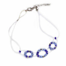 DAINTY PLASTIC THREAD LOOPS & ROYAL/LIGHT BLUE BEAD BRACELET ADJUSTS 2.5CM(ZX48)