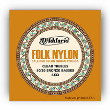 D'ADDARIO EJ33 80/20 BRONZE BALL END FOLK NYLON ACOUSTIC GUITAR STRINGS 2 PACK