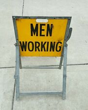 BELL SYSTEM MEN WORKING SIGN YELLOW CAUTION SAFETY CONSTRUCTION VINTAGE ORIGINAL