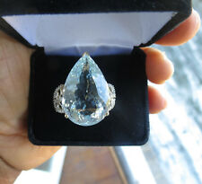 Flawless Huge 29.55 carat Aquamarine & diamond 14k yellow/white gold ring Sz 7.9