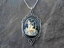 GODDESS DIANA WITH DEER CAMEO NECKLACE, HUNTRESS, CREAM/BLACK, QUALITY!!!