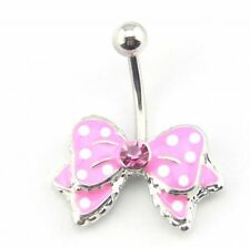 Surgical Steel Pink Enamel Bow Belly Bar /  Navel Ring
